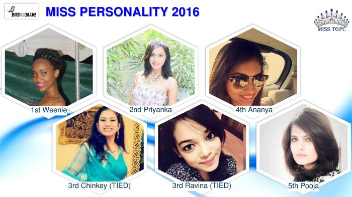 Bird in Blue Miss Personality Result, Miss TGPC 2016
