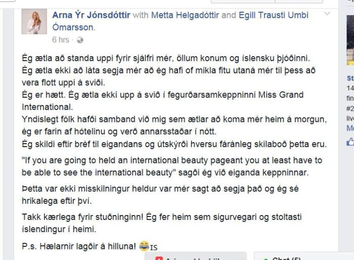 Screenshot of Arna's status update on Facebook
