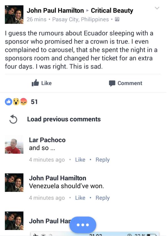 Miss Earth 2016 Controversy John Paul Hamilton