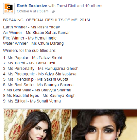 Miss Earth India 2016 Results