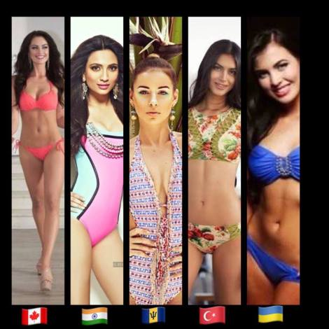 TOP 15, Miss Canada, Siera Bearchell,Miss India, Roshmitha Harimurthy,Miss Barbados, Shannon Harris,Miss Turkey, Tansu Cakir and Miss Ukraine, Alena Spodynyuk