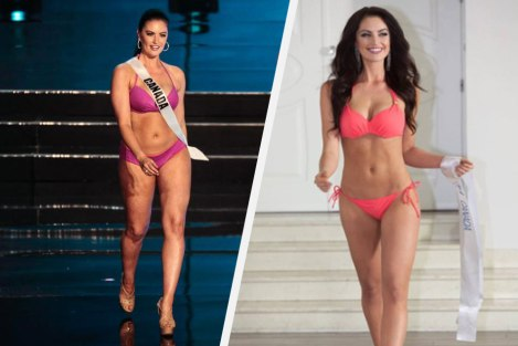 Miss Canada during Miss Universe 2016 (Left) and during Miss Supranational 2015(Right)